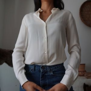 Theory Ivory 100% Silk Button Up Blouse Size P